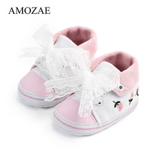 Baby Girl Shoes White Lace Floral Embroidered Soft Casual Shoes Amozae Prewalker Walking Toddler Lace-Up Kid Shoes Free Shipping