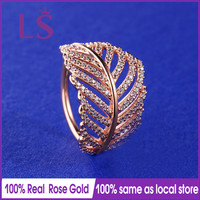 LS Hot Sale Rose Gold Light As A Feather Ring Wedding Rings For Women Compatible With