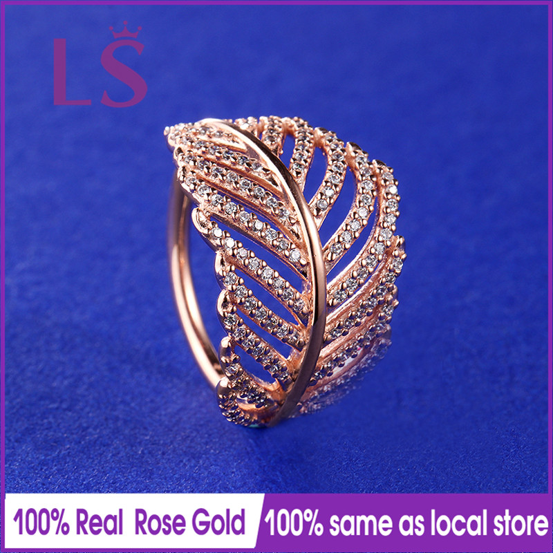 LS Hot Sale Rose Gold Light As A Feather Ring,Wedding Rings for Women.Compatible With Original Jewelry.Fashion Lady Jewelry.Z ls hot sale rose gold hearts halo ring wedding rings for women compatible with original jewelry fashion lady jewelry z