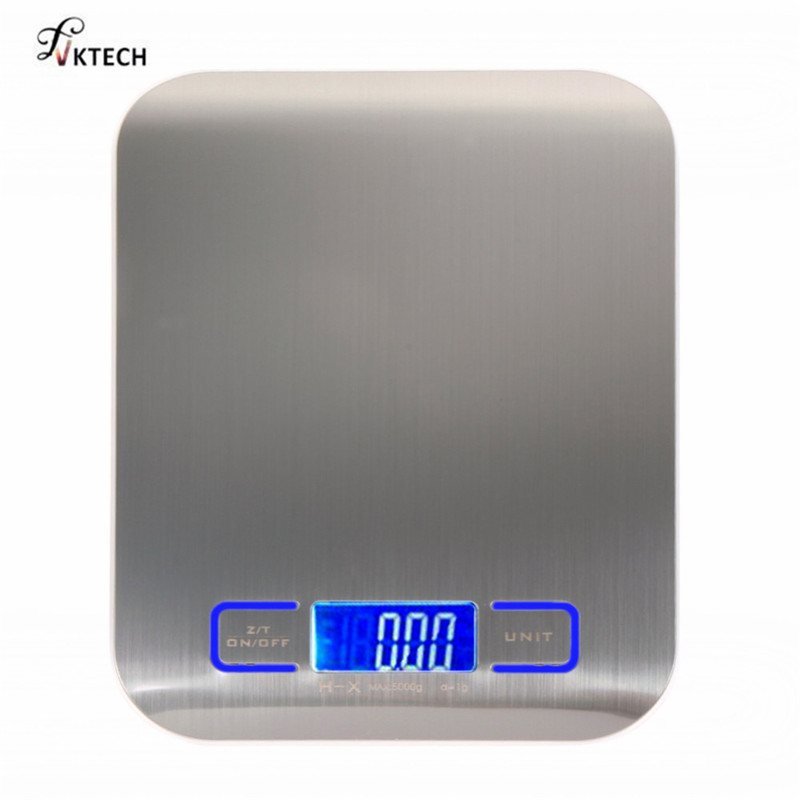 5000g/1g Digital Kitchen Scale LED Display Electronic Weight Scales Libra Silver Stainless Steel Food Cooking Measure Tools