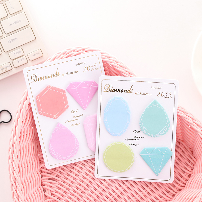 Creative Diamond Series Gem Pattern Pastel Posted Notes Hand-painted Multi-color Repeatedly Post Student Portable Sticky Note