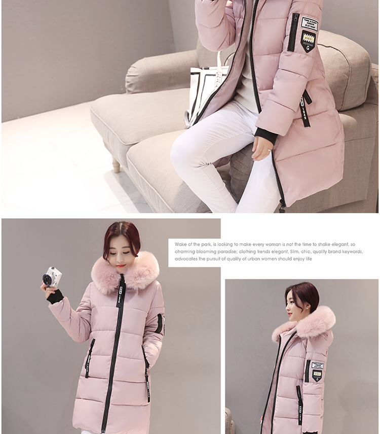 Parka Women Winter Coats Long Cotton Casual Fur Hooded Jackets Women Thick Warm Winter Parkas Female Overcoat Coat 19 MLD1268 8
