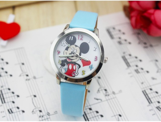 hot sales 3D cartoon Minnie boys girls women watch gifts students small leather