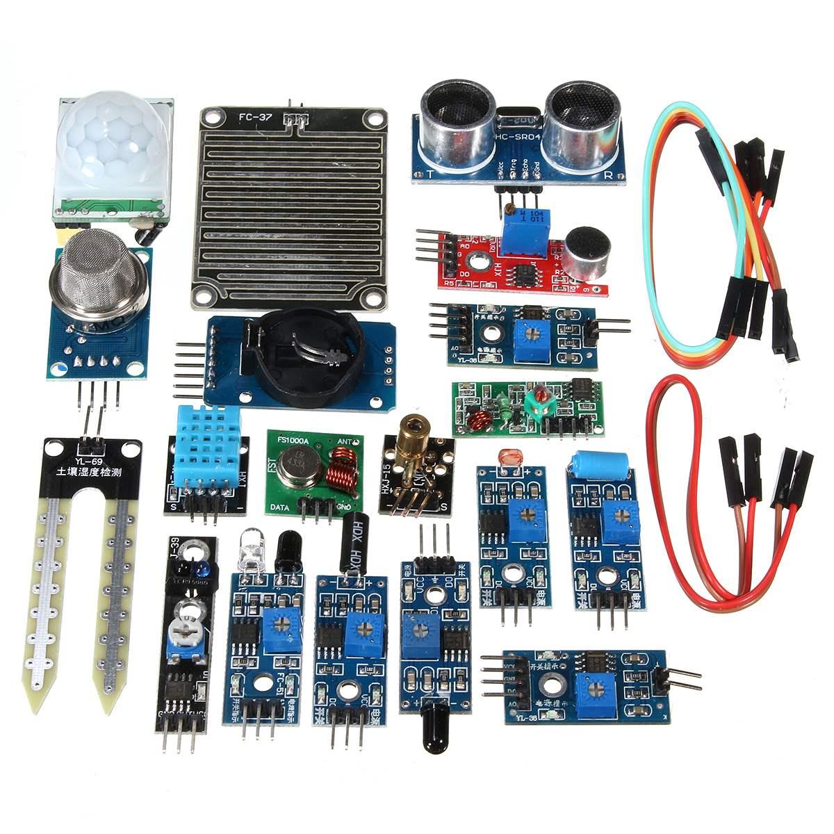 New Arrival 16PCS/Set For Raspberry Pi 3 2 Zero W Sensor Kit Module Kits Ultrasonic Photoresisto for Home Automation