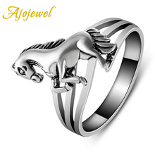 US Size 6.5-9 Ajojewel New Design Animal Jewelry Antique Silver Plated Horse Rings Retro For Women