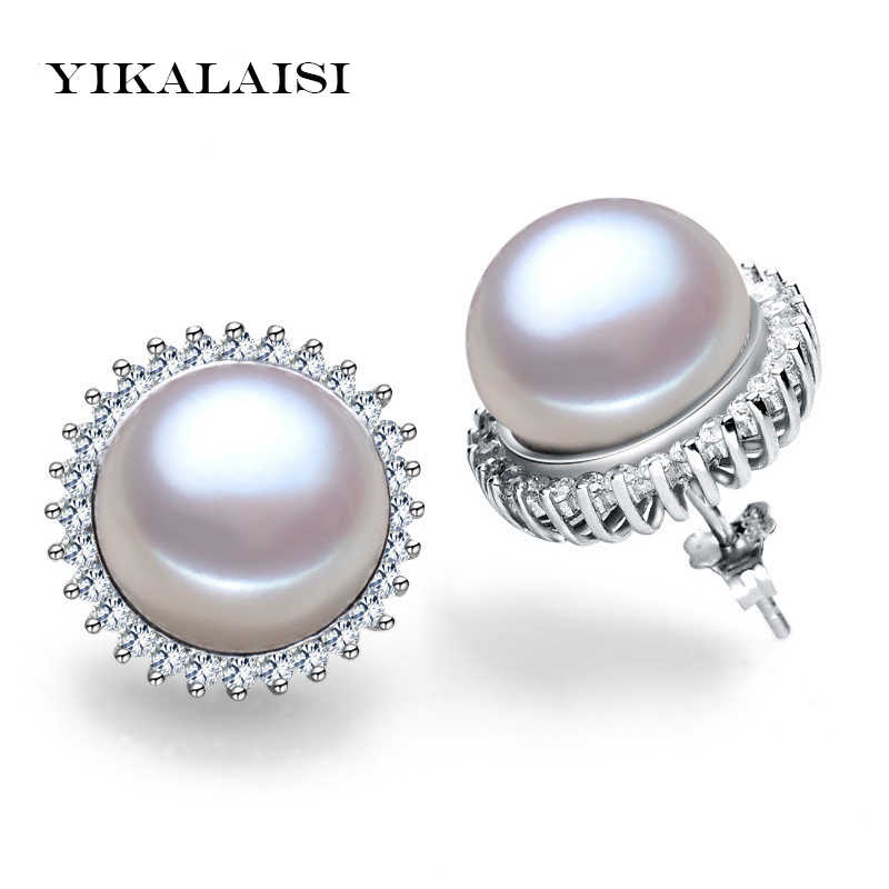 YIKALAISI  925 sterling Silver Jewelry natural freshwater pearl Jewelry stud earrings Classic Audrey Hepburn Wedding