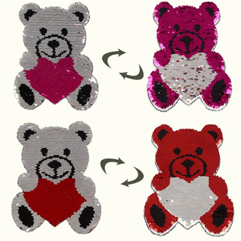 T-shirt Girl Patch 22cm Bear flip double sided Patches for clothing Reversible change color sequins T shirt Stickers
