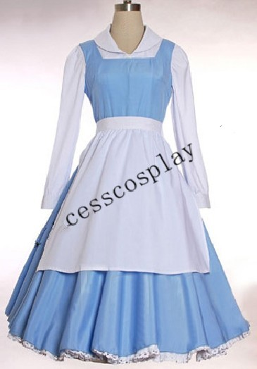 2a32ca699 Beauty and the Beast Belle Blue Costume Cosplay Dress on Aliexpress ...