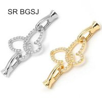 Free Shipping Micro Inlay Zircon Butterfly 925 Silver Necklace Hook Lobster Claw Diy Clasp