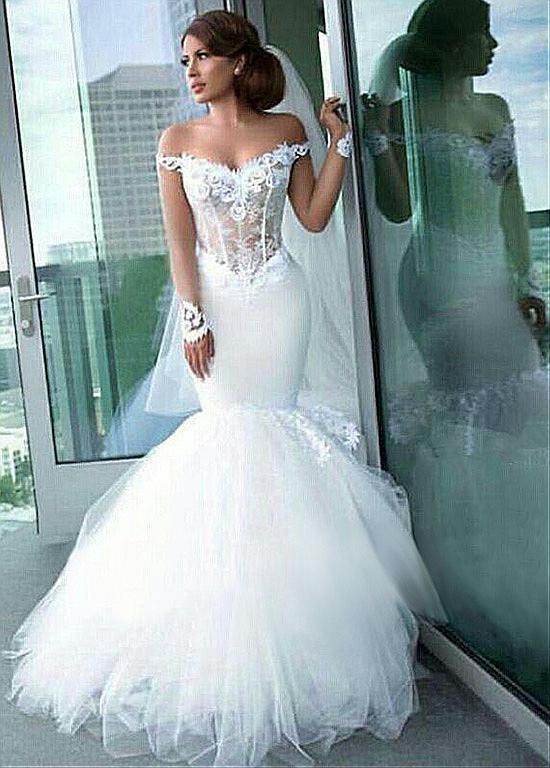 94bf359e385e 2019 Muslim Wedding Dresses Mermaid Off The Shoulder Tulle 2019 Boho  Vestido De Noiva Dubai Arabic Bridal