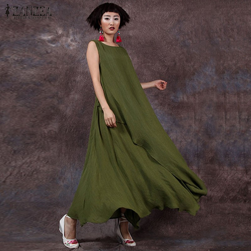 2018 Summer ZANZEA Women Cotton Linen Retro Dress Long Maxi Casual Loose Sleeveless O Neck Ankle-length Dress Vestidos Plus Size