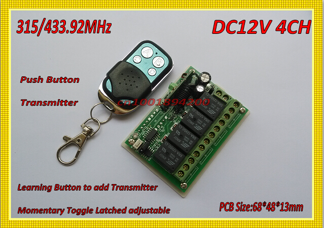 315/433 RF Remote Control Switch Lighting Remote Switches 12V DC 4 CH Receiver Transmitter Metal Push Button Learning M4 T4 L4 remote control switches dc 12v 2ch receiver long range remote control transmitter 50 1000m 315 433 rx tx 2ch relay learning code