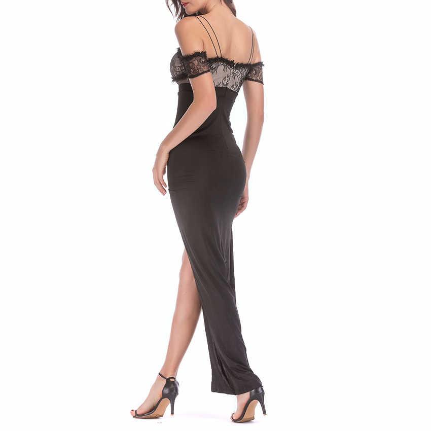 UKCNSEP летнее платье Для женщин сексуальный v-образный вырез без ремешков, на шнуровке с выемкой, раздельная пол Длина платье Вечерние Клубное платье 2019 Новый Vestidos
