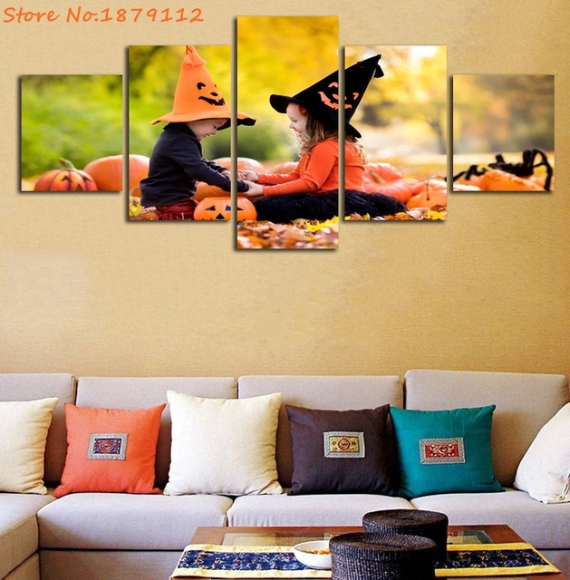 Hot Sale Baby Girls Playing Halloween Decoration Painting Not Framed ...