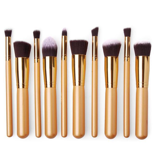 Profesional 10 UNIDS Contorno Pincel de Maquillaje En Polvo Cepillos Cosméticos Concealer de la Fundación Blender Negrita Oro Herramienta de La Belleza