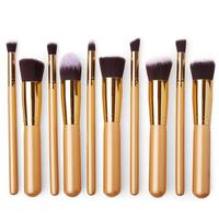 Professional 10 PCS Makeup Brush Set Powder Contour Cosmetic Brushes Foundation Concealer Blender Bold Gold Beauty