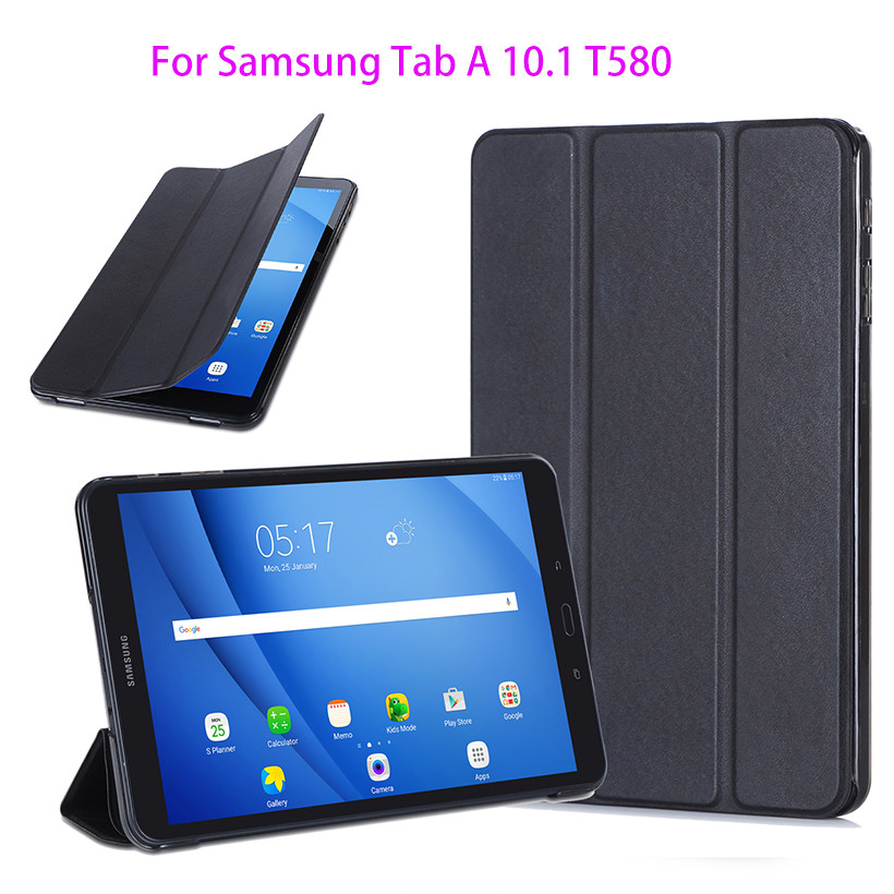 competitive price 6a66a 15a8e US $11.98 30% OFF|Slim PU Cover For Samsung Galaxy Tab A A6 10.1 2016 T580  T585 T580N SM T580 Case Protege Tablet Original Ultra Funda+ Film + Pen-in  ...