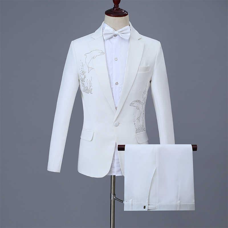 白人男性のスーツ大人歌手ステージコーラス衣装キラキラクリスタルコートジャケットナイトクラブホストパーティーウェディングスタジオショー衣装
