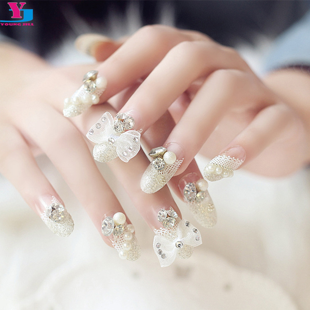 Bride 3d Fake Nails Butterfly Full Lace Pearl Pre Design Nail Art