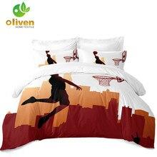 Teens Cartoon Basketball Bedding Set Playing Posture Duvet Cover Boys Bedclothes Pillowcase D30