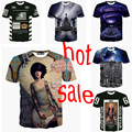 2015 tamaño S-XXL superior caliente! Sky 3d corto manga de la camisa ocasional de la camiseta camisetas impresas