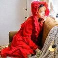7 Colores Felpa traje adulto mujeres pijamas encapuchados de manga larga volantes encantadores pijamas albornoz batas con sombrero y fajas