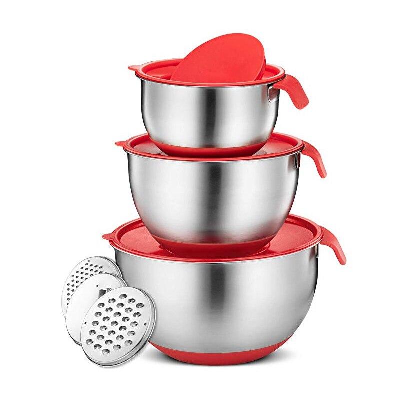 Tigelas de mistura de aço inoxidável com tampa lidar com base de silicone antiderrapante diy bolo misturador de cozimento tigela ralador de salada cozinha ferramenta de cozinha