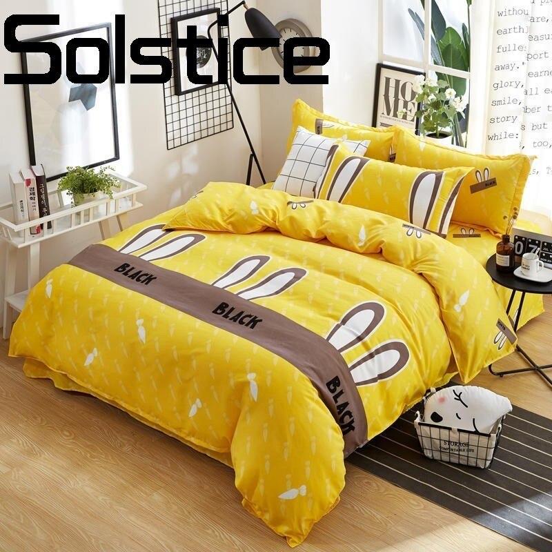 Solstice Maison TextileSleek minimaliste active-impression peau-amical coton linge de lit housse de couette taie d'oreiller literie 3/4 pcs