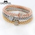 Gagafeel circón pulseras collares joyería de las mujeres cadenas filled pulsera elástica bangles pulseira regalo amistad 3 unids/set