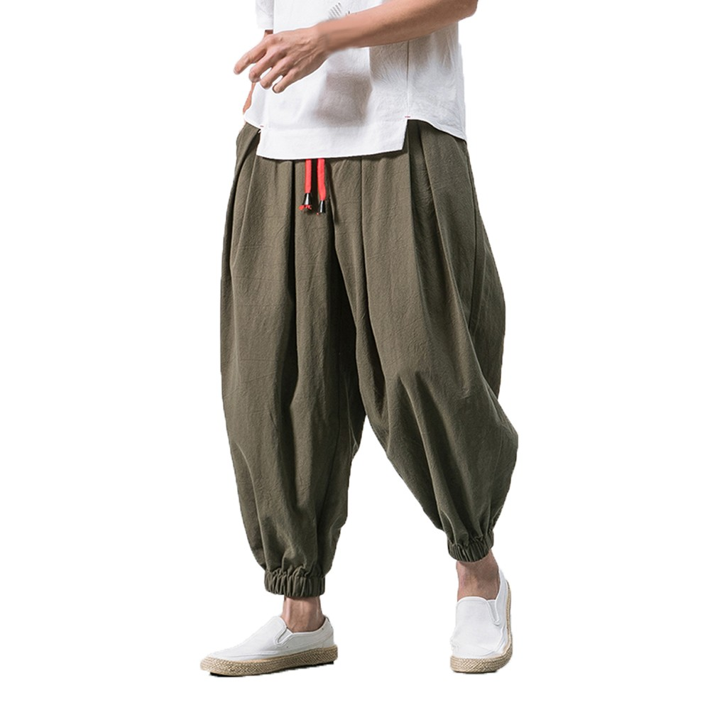 Fashsiualy Pants Men's New-Style Baggy Summer Comfortable Wide-Legged Hombre