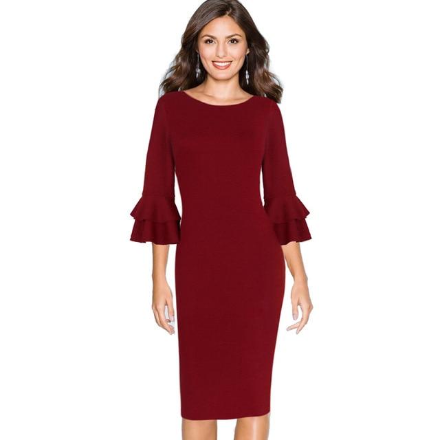 0ba25d0f1e786 Vfemage Women Autumn Elegant Flare Bell 3 4 Sleeve Vintage Wear To Work  Office Business