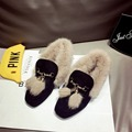 Women Shoes Suede Leather Fashion Casual Flats slip on Loafers Female Women Driving Shoes with Plush Fur green khaki black