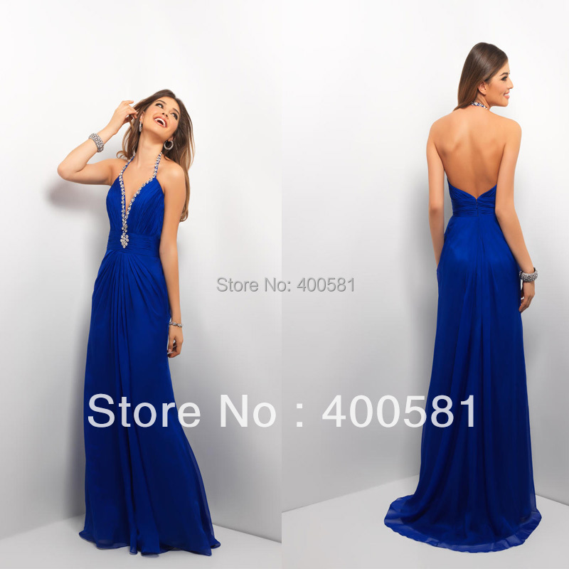 Low Back Flowy Wedding Dress : Flowy skirt floor length royal blue chiffon low back evening dress