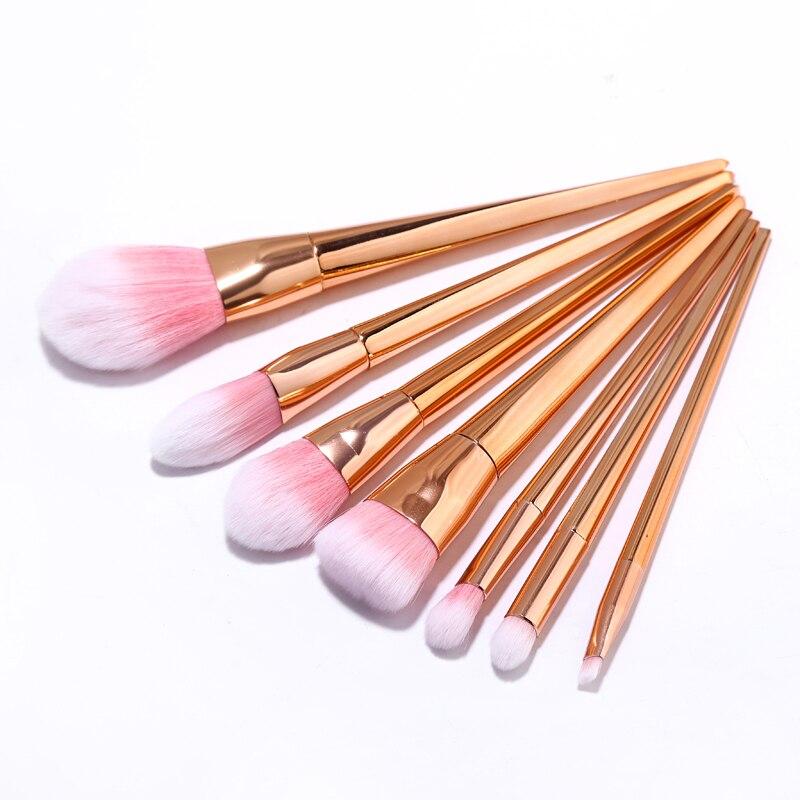 7 Pcs/set Makeup Brushes Set Synthetic Hair Plating Metal Handle Tools Cosmetic Foundation Brush Kits