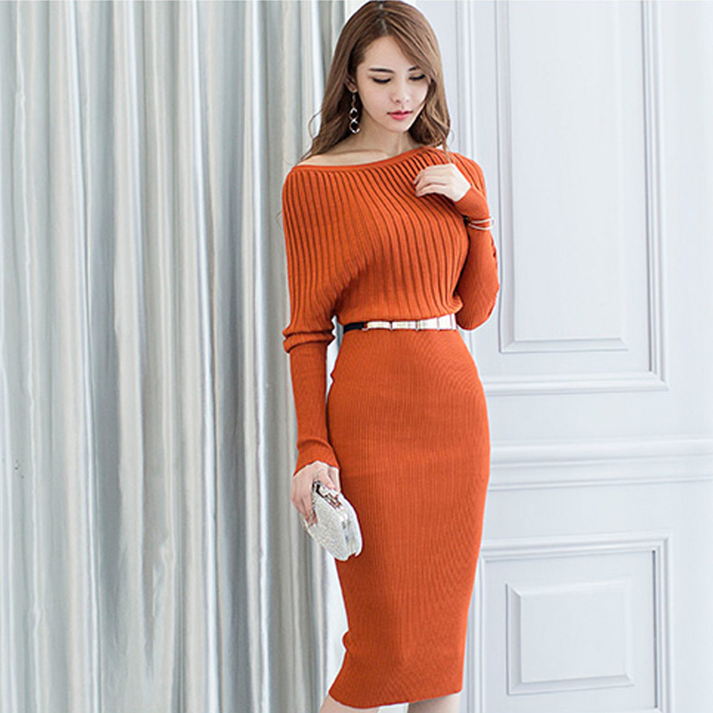 910b48d71 Fiesta Bodycon Coreano Queen Bat Mujer orange Vaina Vestido Sexy Ajustado  Knitting Pencil Elegante Han Ol ...