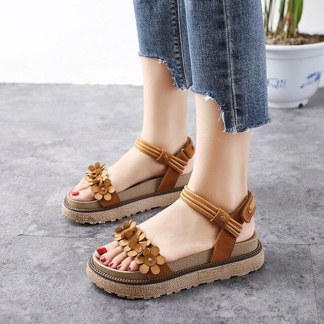 6bdaf3178e910 2018 New Women Sandals Thick Bottom Flowers Female Summer Beach Shoes  Floral Sweet Hook Loop Flat Heel Brown Plus Size 34-43