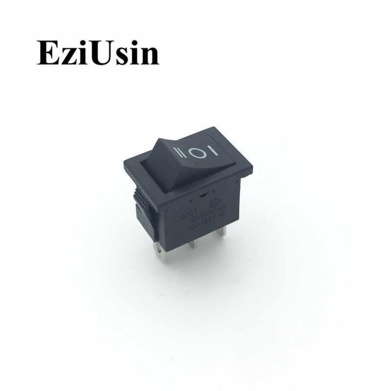 1 Uds KCD1 en-3Pin 2Pin negro barco rojo coche interruptor basculante 6A 220V 10A 125V botón KCD1-102 3P 2P 15*21mm 15x21--