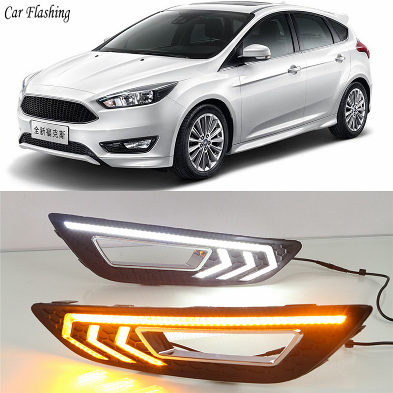 2PCS For Ford Focus 3 mk3 2015 2016 2017 2018 Turn signal and dimming style Relay 12V LED Car DRL daytime running light Fog lamp-in Car Light Assembly from Automobiles & Motorcycles    1