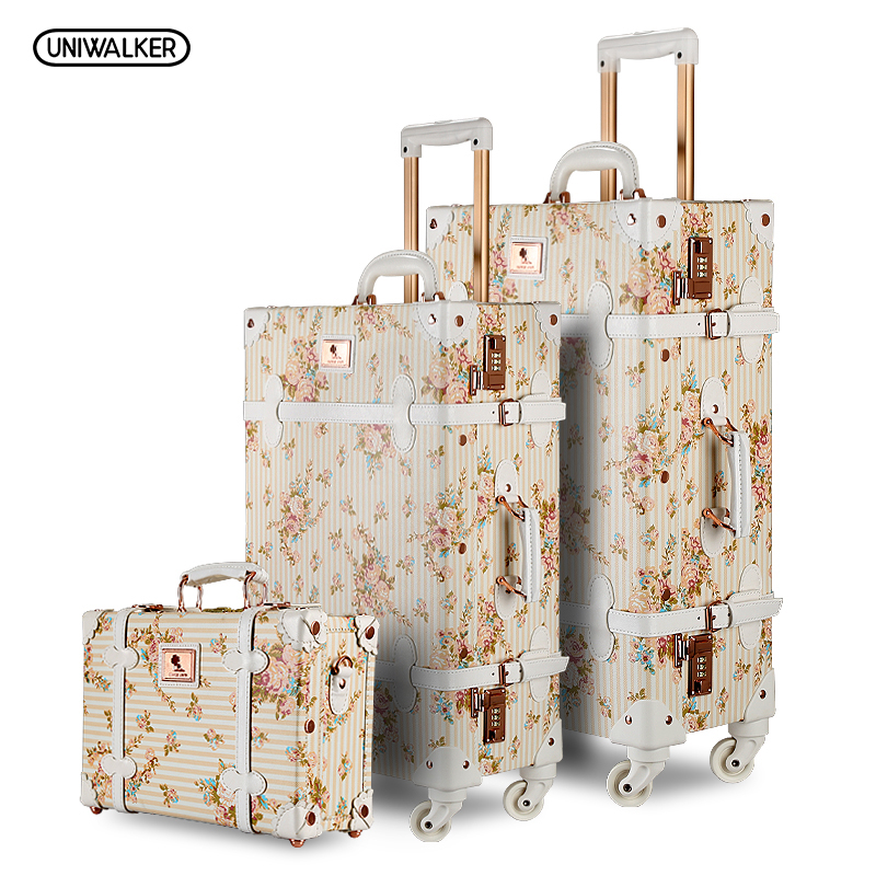 3PC/SET Lightweight Vintage Print 3 Piece Luggage Set 20 26 & 13 cosmetic case WomenTravel Bags Suitcase With Spinner Wheels