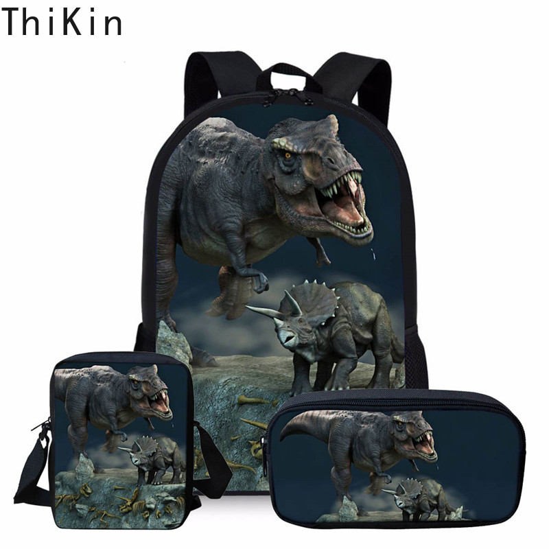 THIKN School Bag Set 3pcs/set Dinosaur World Backpacks Cool Animal Kids Bag Children Backpack Sets Boys Girls Teenager Mochila