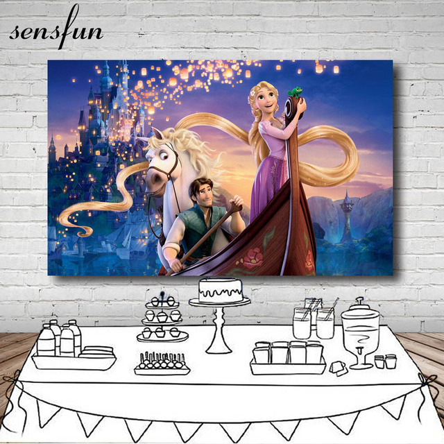 Sensfun Tangled Rapunzel Princess Boat Horse Sparkles Castle Palace Backdrop Girls Birthday Party Backgrounds 7x5FT Vinyl