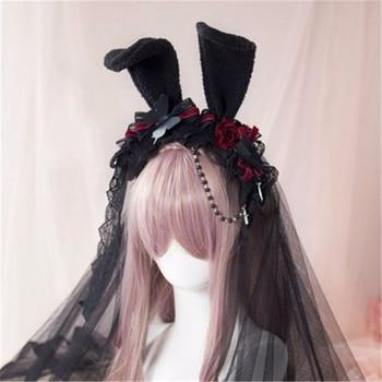 Takerlama Princess Sweet Lolita Rose Hair Rabbit Ear Headband Japanese Harajuku Headwear Gothic Lace Yarn Hair Cosplay Accessory