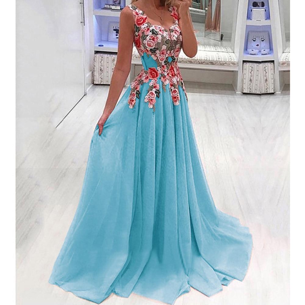 Summer Lace Applique O Neck Elegant Maxi Dress Women Sexy Dresses Sleeveless Floral Print Party Dress Vestidos Sukienki Feminino