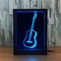 3D Illusion Optic Lamps LED Night Light Guitar Photo Frame Creative Gift Visual
