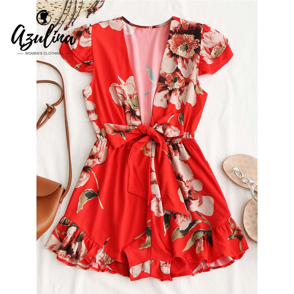 AZULINA Floral Ruffle Tied Romper Boho Jumpsuit Women Rompers Casual Chiffon Playsuit Girls Clothes 2018 Summer Beach Playsuits