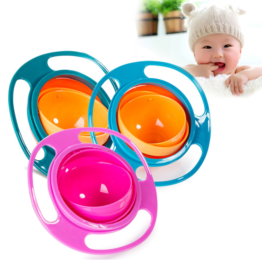 Novelty Design ABS Plastic Healthy Baby Kids Non Spill Feeding Toddler Gyro Shape Bowl 360 Rotating Avoid Food Spilling Bowl