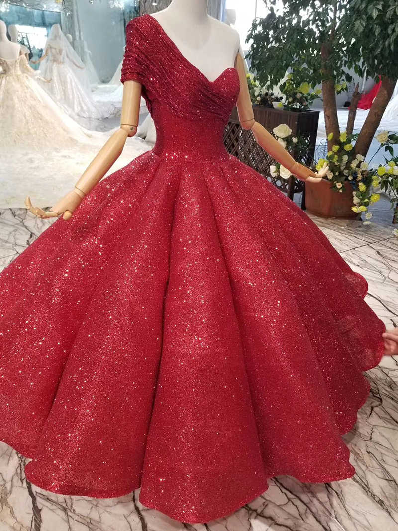 4df3b5a7ea LSS074 ankle-length wedding party dresses sexy one-shoulder princess girl  ball gown red evening prom dresses 2019 abendkleider