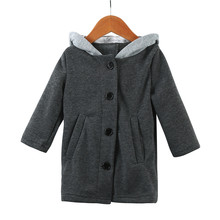 Winter Baby Bunny Ears Hooded Thick Trench Coat Jacket