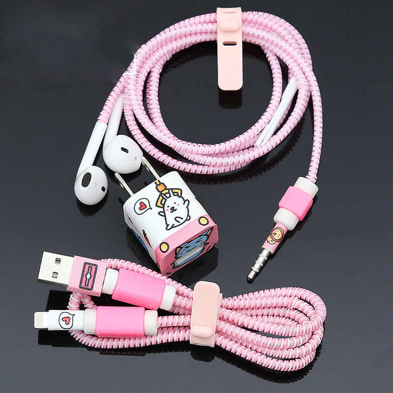 1,4 м тпу спиральный usb кабель для зарядки протектор Набор наушников шнур защита для iphone 5 5s 6 7 8 устройство для сматывания кабеля провод линия Protecive