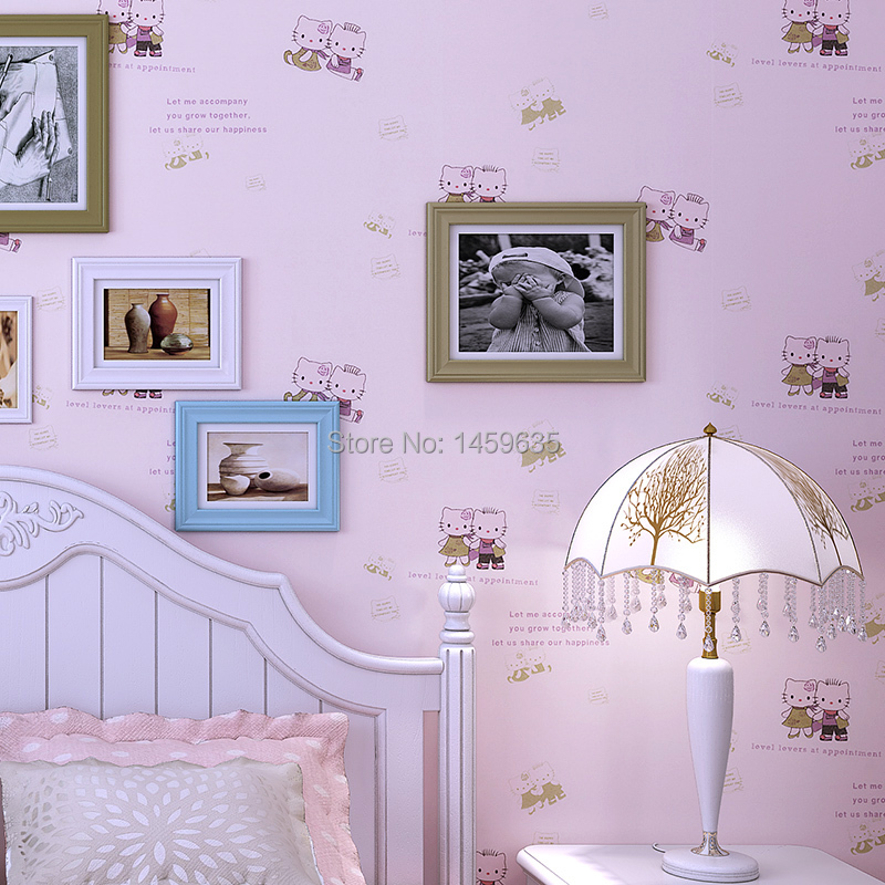 ФОТО  Non-Woven Wallpaper Cartoon KT Cats Children's Room Bedroom Wallpaper Warm Girl Princess Room Wallpaper